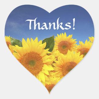 Danke gelber Sonnenblume-Gruß-Aufkleber-Aufkleber Herz-Aufkleber