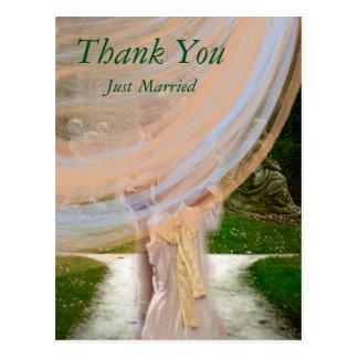 Danke gerade verheiratete Flitterwochen-Postkarte Postkarte