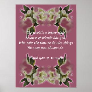Danke Geschenk - Plakat-Vers - Vintage Rose Poster