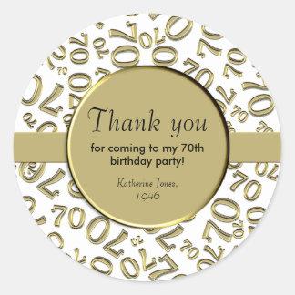 Danke: Gold und Weiß-70. Geburtstags-Party Runder Aufkleber