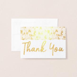 Danke Goldfolien-Karten-Blumenmuster Folienkarte