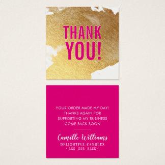 DANKE heißes Rosa des bezaubernden luxe Quadratische Visitenkarte