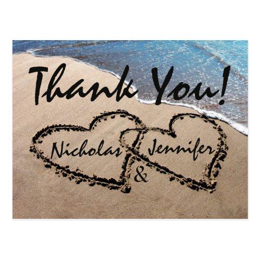 Danke Herzen in der Sand-Hochzeits-Strand-Postkart Postkarte