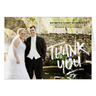 Danke Hochzeits-Foto-Hand beschriftete Bürsten-Art Karte