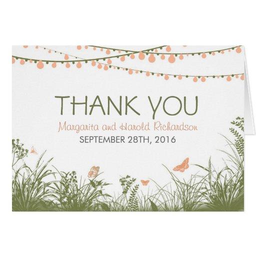 Danke Hochzeitskarte mit wilden Blumen u. Lichtern Grußkarte