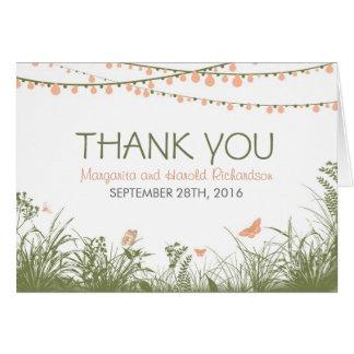 Danke Hochzeitskarte mit wilden Blumen u. Lichtern Karte