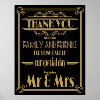 Danke Hochzeitszeichen Gold und Schwarzes Poster