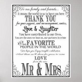 Danke Hochzeitszeichen Schwarzes u. Weiß Poster