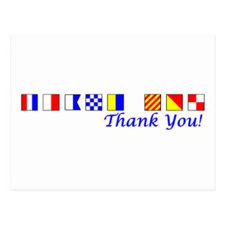 Danke im Seeflaggenalphabet Postkarte
