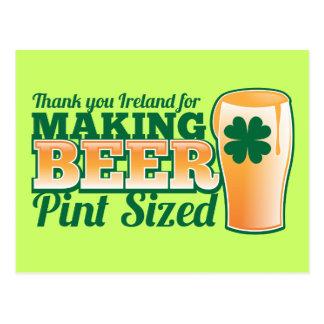 Danke Irland für die Herstellung des Bierhalben Postkarte