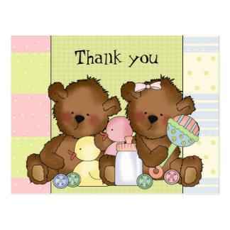 Danke Jungenmädchenzwillings-Bärnpostkarte Postkarte