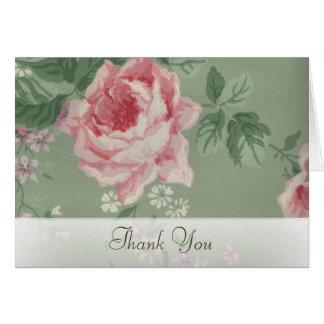 Danke Karten für grüne und rosa Rosen-Hochzeit