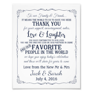 Danke kundengebundene Marine der Hochzeit Zeichen Photographien