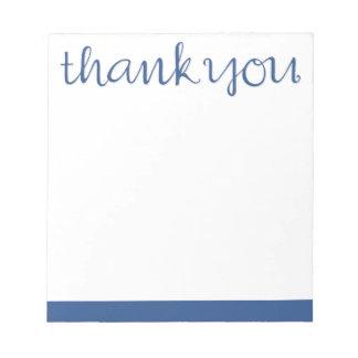 Danke kursiver blauer Notizblock