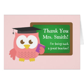 Danke, Lehrer-Anerkennungs-Tag, niedliche rosa Karte