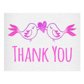 Danke Lovebirds-rosa pinkfarbenes Aquarell-Grau Postkarte