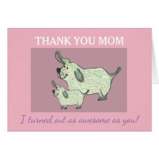 Danke Mamma-Karte mit niedlichen Hunden Grußkarte