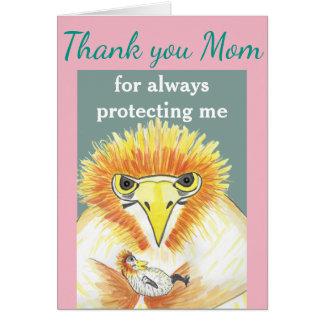 """""""Danke Mamma"""", lustiger Mutter-Vogel und ihr Baby Grußkarte"""