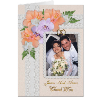 Danke, mit Hochzeits-Foto-Blumeneleganz zu Grußkarte