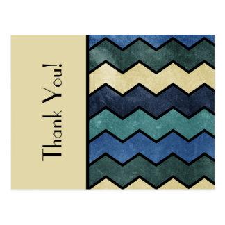 Danke moderne männliche blaue Sparren Postkarte