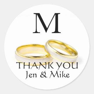 Danke Monogramm-Namen-Gastgeschenk Hochzeits-Aufkl Runde Aufkleber