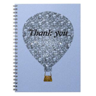 Danke Mosaik-Heißluft-Ballon-Sitzung Spiral Notizblock