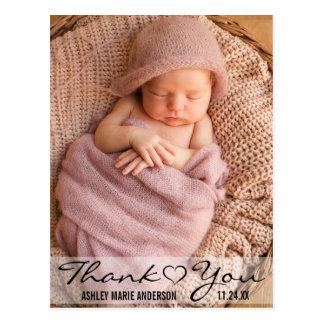 Danke neues Baby-modernes Foto-Herz Postkarte