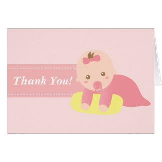 Danke - niedliches Baby-Mädchen mit rosa Band Karte