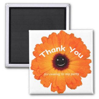 Danke orange Blume Quadratischer Magnet