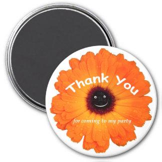 Danke orange Blume Runder Magnet 7,6 Cm