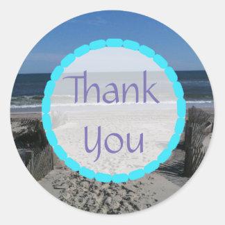 Danke Ozean-Strand-Aufkleber Runder Aufkleber