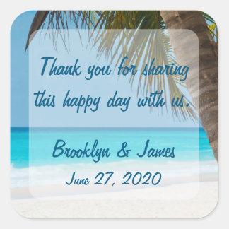 Danke Palmen auf Strand-Hochzeits-Aufklebern Quadratischer Aufkleber