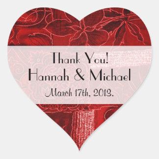 Danke - Patchwork, Blumen, Wirbel - Rot