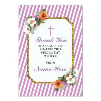 Danke religiöser rosa Streifen-Blumenkarten Karte
