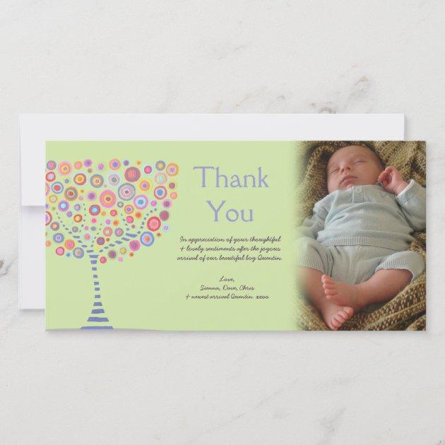 Danke Retro Baum Neue Baby Geschenk Fotokarte Zazzle De