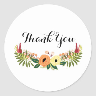 Danke ringsum Aufkleber - BlumenKranz-Entwurf