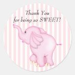Danke rosa Elefant-Babyparty Runde Aufkleber
