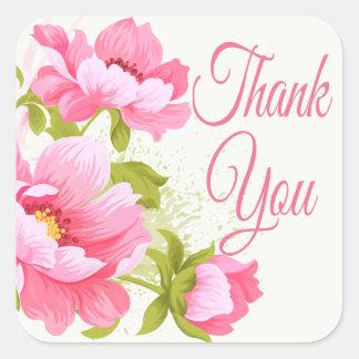 Danke rosa Pfingstrosen-Blumen-mit Blumenhochzeit Quadratischer Aufkleber