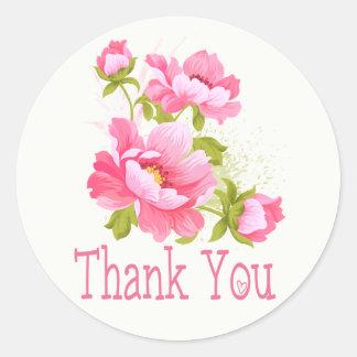 Danke rosa Pfingstrosen-Blumen-mit Blumenhochzeit Runder Aufkleber