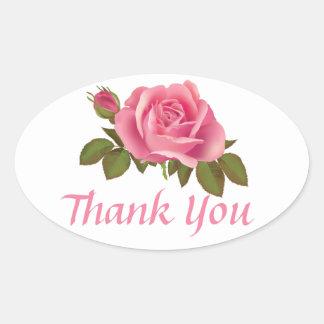 Danke rosa Rosen-Gruß-Aufkleber u. Aufkleber
