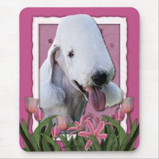 Danke - rosa Tulpen - Bedlington Terrier Mousepads