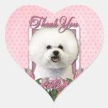 Danke - rosa Tulpen - Bichon Frise Herz Aufkleber
