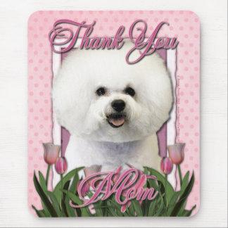 Danke - rosa Tulpen - Bichon Frise Mauspad