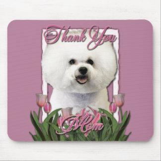 Danke - rosa Tulpen - Bichon Frise Mauspads