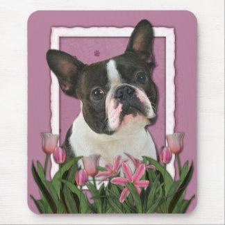 Danke - rosa Tulpen - Boston Terrier Mousepads