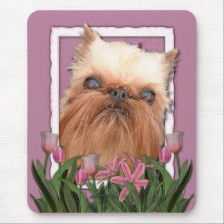 Danke - rosa Tulpen - Brüssel Griffon Mousepad
