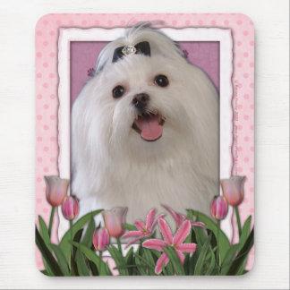 Danke - rosa Tulpen - maltesisch Mousepad