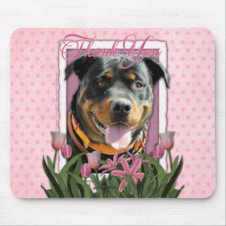 Danke - rosa Tulpen - Rottweiler - SambaParTi Mauspads