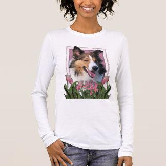Danke - rosa Tulpen - Sheltie Langarm T-Shirt