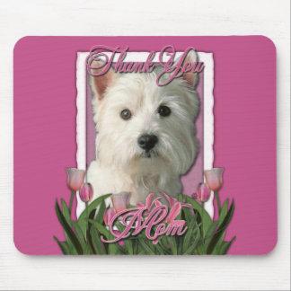 Danke - rosa Tulpen - Westhochland Terrier Mousepads